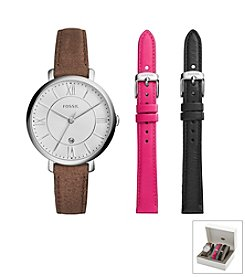 Fossil® Jacqueline Watch Boxset In Silvertone With Dark Brown, Pink, And Black Interchangeable Straps