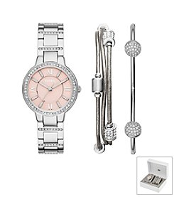 Fossil® Women's Virginia Watch Boxset In Silvertone With Bracelets