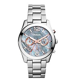 Fossil® Silvertone Women's Perfect Boyfriend Watch In Silvertone With Mother Of Pearl Dial