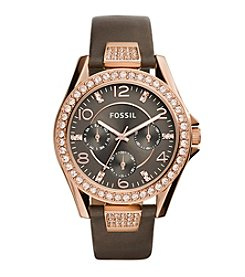 Fossil® Women's Riley Watch In Rose Goldtone With Grey Leather Strap And Gunmetal Dial