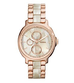 Fossil® Women's Chelsey Watch In Rose Goldtone With Shimmer Horn Acetate