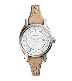 Fossil® Women's Original Boyfriend Small Watch in Silvertone with Light Brown Leather Strap
