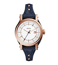Fossil® Women's Original Boyfriend Small Watch in Rose Goldtone with Navy Leather Strap