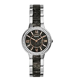 Fossil® Women's Virginia Watch In Silvertone With Dark Pearl Acetate
