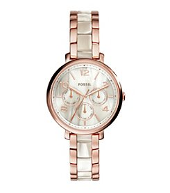 Fossil® Women's Jacqueline Watch In Rose Goldtone With Shimmer Horn Acetate