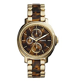 Fossil® Women's Chelsey Watch In Goldtone With Tortoise Acetate
