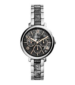 Fossil® Women's Jacqueline Watch In Silvertone With Dark Pearl Acetate