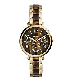 Fossil® Women's Jacqueline Watch In Goldtone With Tortoise Acetate