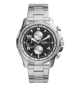 Fossil® Men's Dean Watch In Silvertone With Black Dial