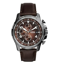 Fossil® Men's Dean Watch In Silvertone With Dark Brown Leather Strap And Brown Dial
