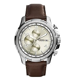 Fossil® Men's Dean Watch In Silvertone With Dark Brown Leather Strap