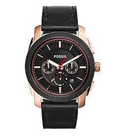 Fossil® Men's Machine Watch In Rose Goldtone And Smoke IP With Black Leather Strap