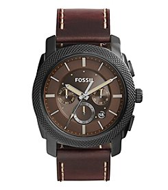 Fossil® Men's Machine Watch In Blacktone With Dark Brown Leather Strap And Brown Dial