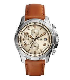 Fossil® Men's Dean Watch in Silvertone with Light Brown Leather Strap and Beige Dia