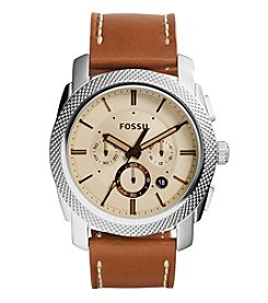Fossil® Men's Machine Watch In Silvertone With Light Brown Leather Strap And Beige Dial