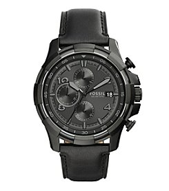 Fossil® Men's Dean Watch In Blacktone With Black Leather Strap And Black Dial