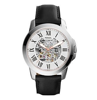 men grant automatic watch silvertone