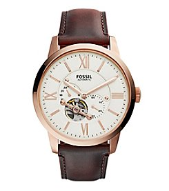 Fossil® Men's Townsman Automatic In Rose Goldtone With Dark Brown Leather Strap
