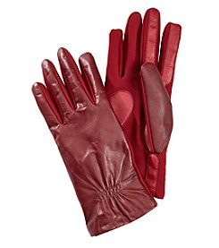 Isotoner® Signature SmartTouch Stretch Leather With Partial Back Gather Gloves