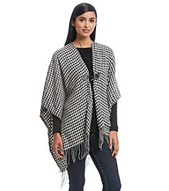 Cejon® Woven Houndstooth With Toggle Ruana