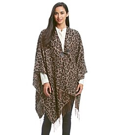 Cejon® Leopard Pattern Ruana With Toggle