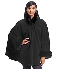 Cejon® Fleece Cape With Fur Collar And Cuffs