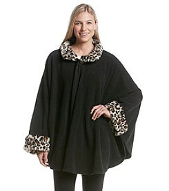Cejon® Fleece Cape With Faux Fur Collar And Cuffs