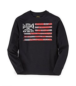 Ralph Lauren Childrenswear Boys' 8-20 Long Sleeve Flag Tee
