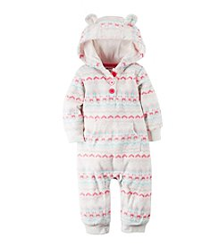 Carter's Baby Girls' Newborn-3M Fair Isle Chevron Hoodie Coverall