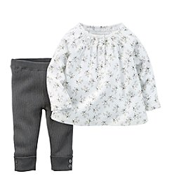 Carter's® Baby Girls' 2-Piece Flannel Top & Sweater-Knit Pant Set