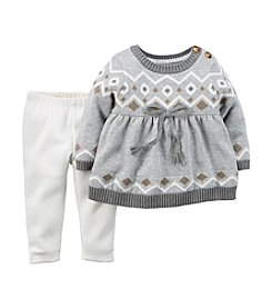 Carter's® Baby Girls' Newborn-24M Geo Print Sweater Top Set