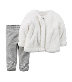 Carter's® Baby Girls' Fuzzy Vest and Fair Isle Legging Set