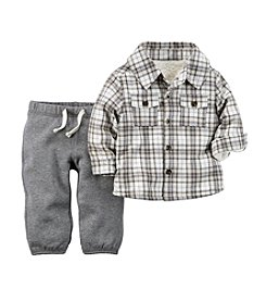Carter's® Baby Boys Newborn-24M 2-Piece Sherpa-Lined Flannel Top & Terry Pant Set