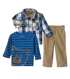 Nannette® Baby Boys' 12-24M Three-Piece Beary Good Pants Set