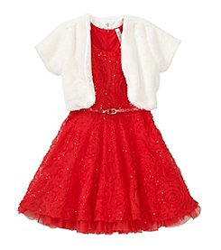 Beautees Girls' 4-6X Solid Soutache Dress With Shrug