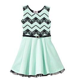 Beautees Girls' 4-6X Chevron Bodice Dress