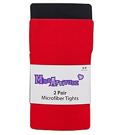 Miss Attitude Girls' 2T-14 2 Pair Microfiber Tights
