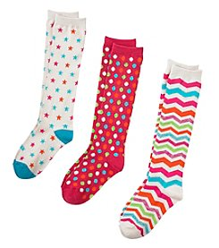 Miss Attitude Girls' 6-16 3-Pack Multi Print Knee High Socks