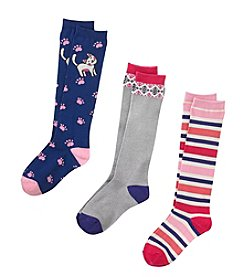 Miss Attitude Girls' 6-16 Kitty Kat Multi Print Knee High Socks
