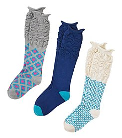 Miss Attitude Girls' 6-16 Hearts Knee High 3 Pack Sock