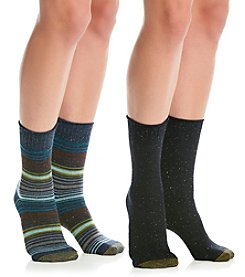 GOLD TOE® 2-Pack Stripe And Solid Boot Socks