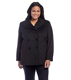 Calvin Klein Plus Size Double-Breasted Notch Collar Peacoat