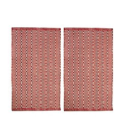 Chesapeake Red Portland Diamond 2-pc. Accent Rug Set