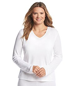 Cuddl Duds® Plus Size Softwear Lace V Neck Top