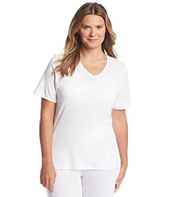 Cuddl Duds® Plus Size Softwear Lace V Neck Tee