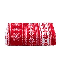 LivingQuarters Holiday Fair Isle Micro Cozy Throw
