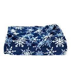 LivingQuarters Blue Snowflake Micro Cozy Throw