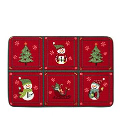 LivingQuarters Holiday Patchwork Memory Foam Rug
