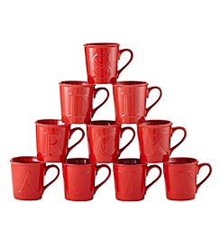 LivingQuarters Red 14-Oz. Embossed Initial Mug