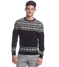 Le Tigre Men's Crew Neck Placed Fair Isle Sweater